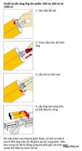 Lắp đặt keo cấy thép Sika Anchorfix 3001 vào dụng cụ bơm keo