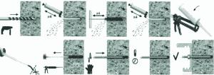 Quy trình thi công khoan cấy thép bằng keo cấy thép Rawlplug R-Kex II