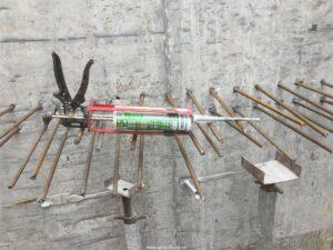 Thi công khoan cấy thép bằng keo cấy thép Bossong BCR 470