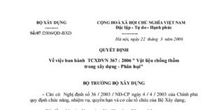 Tiêu chuẩn xây dựng Việt nam 367-2006 về phân loại vật liệu chống thấm