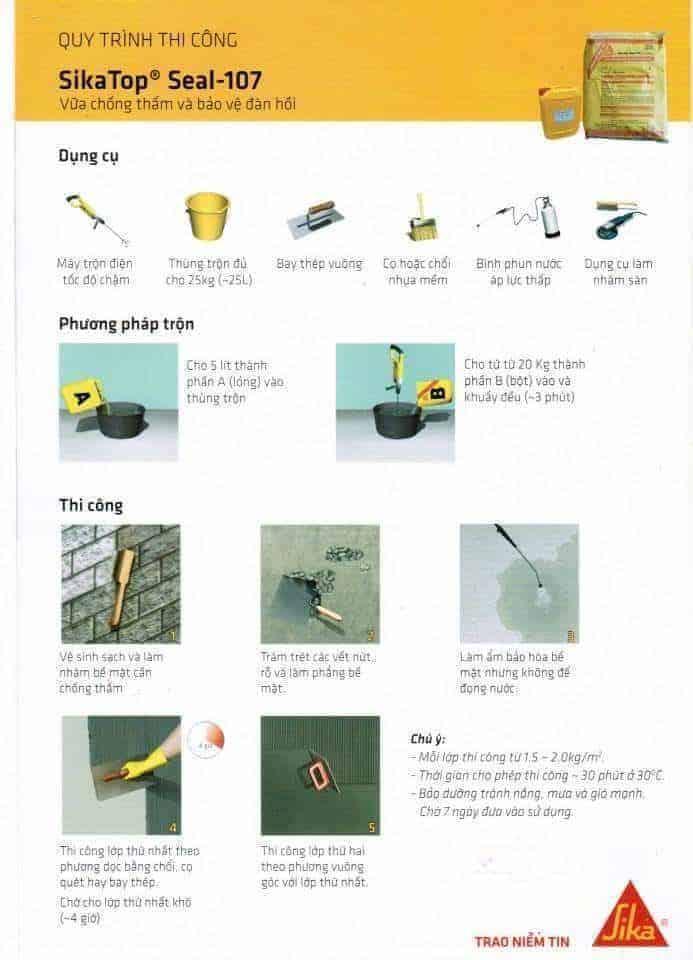 Quy trình thi công chống thấm bằng Sika Top Seal 107