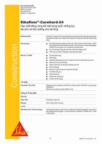 Hợp chất đông cứng bê tông trong suốt chống bụi Sikafloor Curehard 24