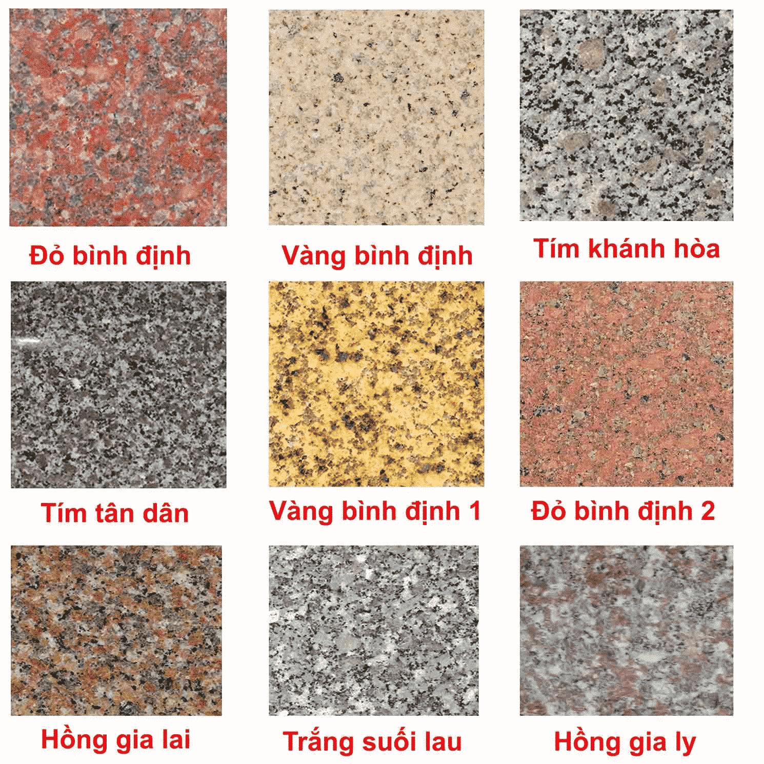 Các mẫu màu sắc của sơn giả đá KSP