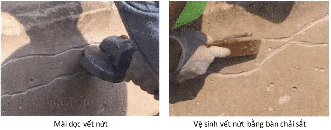 vệ sinh vết nứt sàn bê tông