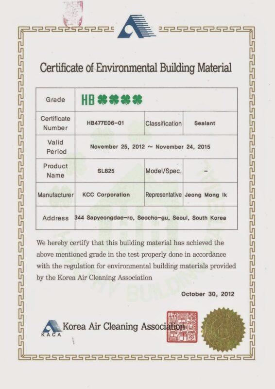 Chứng nhận an toàn sản phẩm KCC SL825