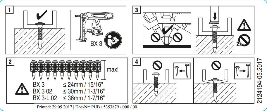 Hướng dẫn sử dụng Máy đóng đinh không dây HILTI BX 3 02